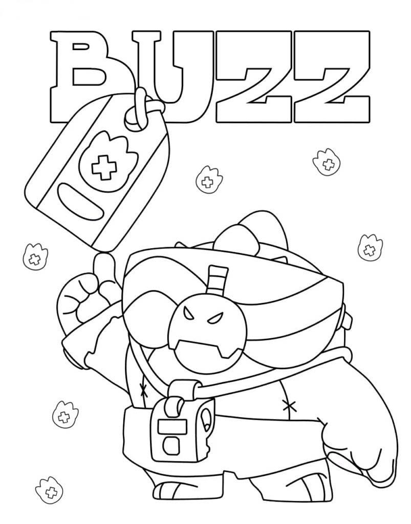 Buzz von Brawl Stars Malvorlagen kostenlos ausdrucken